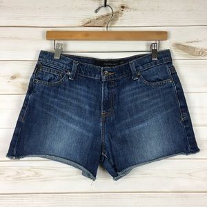 Mid-Rise Cut-off Jean Shorts Raw Hem